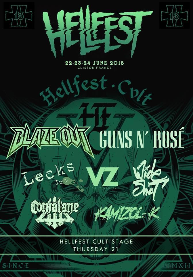 Cartel en el que aparecen las bandas que formarán parte del día inaugural del festival Hellfest de 2018.