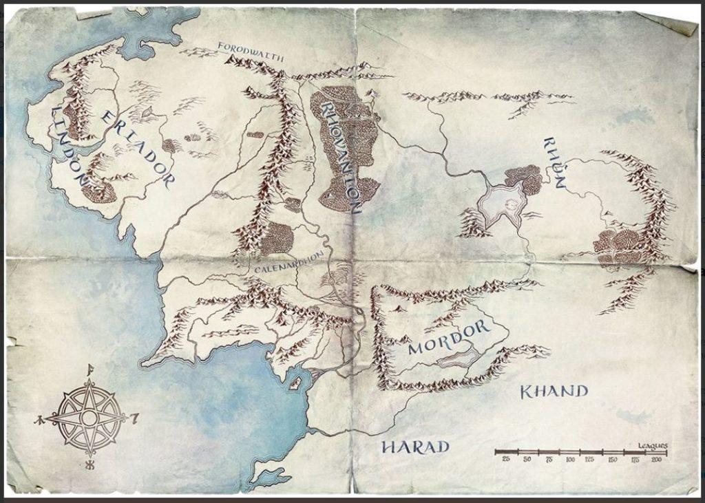 Mapa serie El señor de los anillos