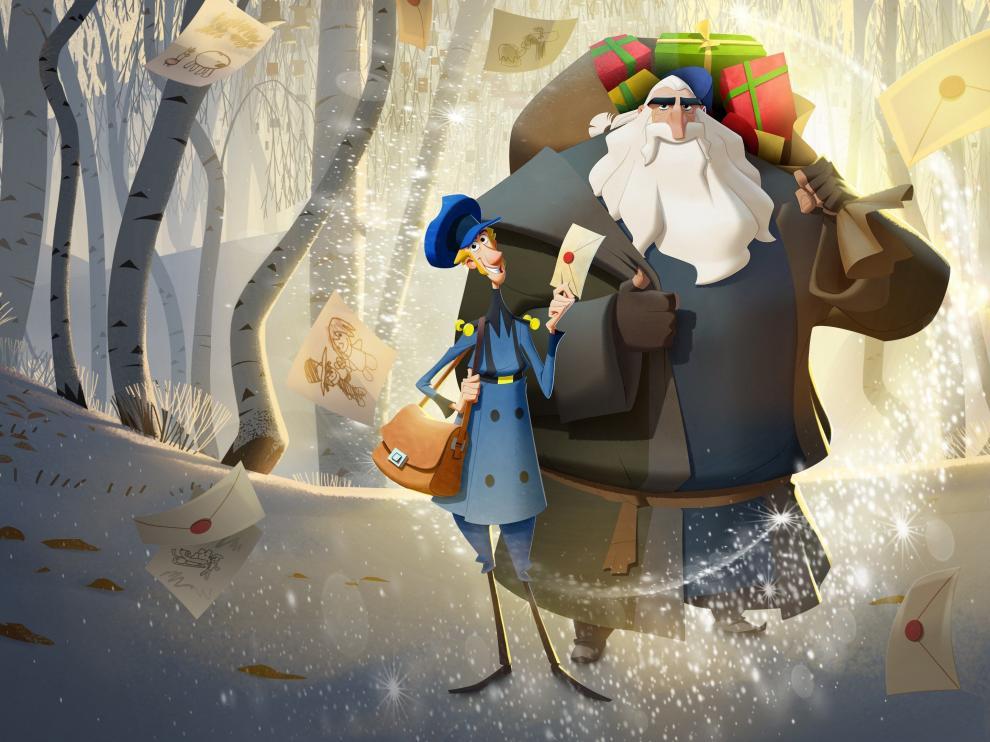 Fotograma de la película Klaus donde el propio Klaus y Jesper aparecen juntos caminando