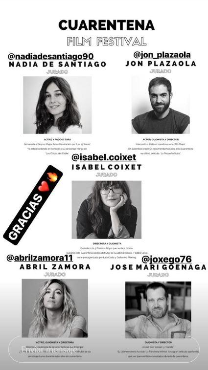 Captura del instagram del Cuarentena Film Festival donde se muestra el jurado