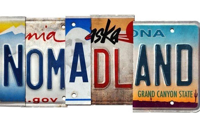 Poster de la película Nomadland representado por una matrícula de coche